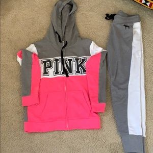VS PINK two piece sweat suit